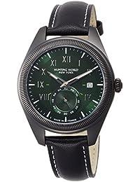 [ハンティングワールド]HUNTING WORLD 腕時計 HWM002 クォーツ グリーン文字盤 ブラックレザー 5気圧防水 HWM002GRBK メンズ 【正規輸入品】