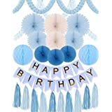BLUE AND GOLD BIRTHDAY DECORATION SET 24 PC-Party Decors and Supplies - Set includes Happy Birthday Banner-Paper Tassels - Blue and Gold Letters Birthday Bunting Stylish Decorations and Party [並行輸入品]