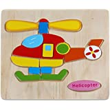 RETYLY 木製パズル教育開発 赤ちゃんのトレーニングおもちゃ(ヘリコプター)