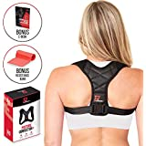 Back Posture Corrector for Women & Men | Pro Performance+ Back Brace Relieves Neck, Shoulder & Back Pain | Adjustable & Comfortable Upper Back Brace & Clavicle Support | Bonus Resistance Band & E-Book
