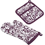 DII Cotton Damask Oven Mitt 12 x 6.5 and Pot Holder 8.5 x 8 Kitchen Gift Set, Machine Washable and Heat Resistant for Cooking and Baking-Eggplant