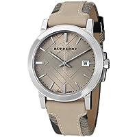 Burberry bu9021レディースLarge Check Tanレザーとキャンバスストラップクリームダイヤル腕時計