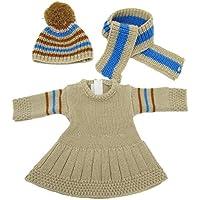 人形ドレスfor 18インチ人形、AOFul冬人形セータードレス+帽子+スカーフ3 Piece Fits 16インチ18
