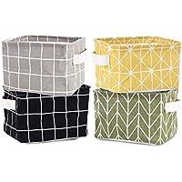 収納ケース 小物 かわいい 布製 折りたたみ カラーボックス 書類 卓上 幅20×奥行16×高さ13cm 4個セット (#2)