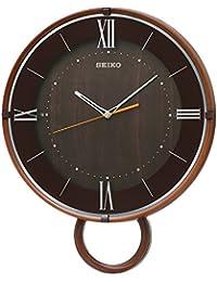 セイコー クロック 掛け時計 電波 アナログ 飾り振り子 濃茶 木目 模様 PH206B SEIKO