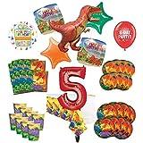 Mayflower Products 恐竜 5歳の誕生日パーティー用品 8人用 装飾キット 先史時代のTレックスバルーンブーケ