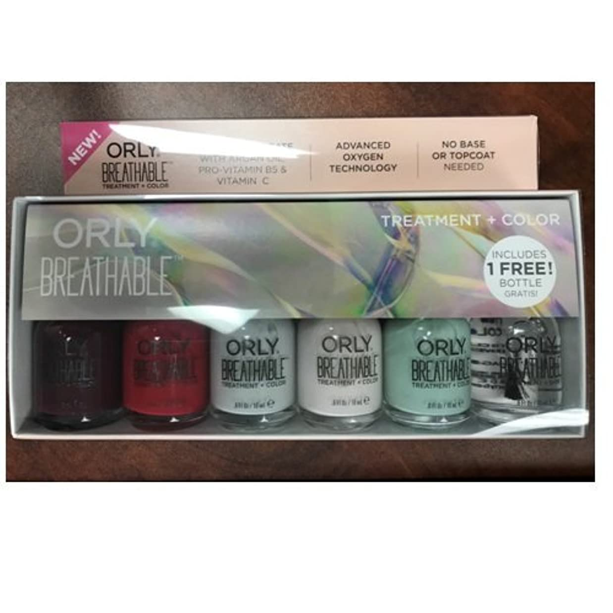 コンドームベーコン効果Orly Breathable Nail Lacquer - Treatment + Color - 6 Piece Kit - 18ml / 0.6oz Each