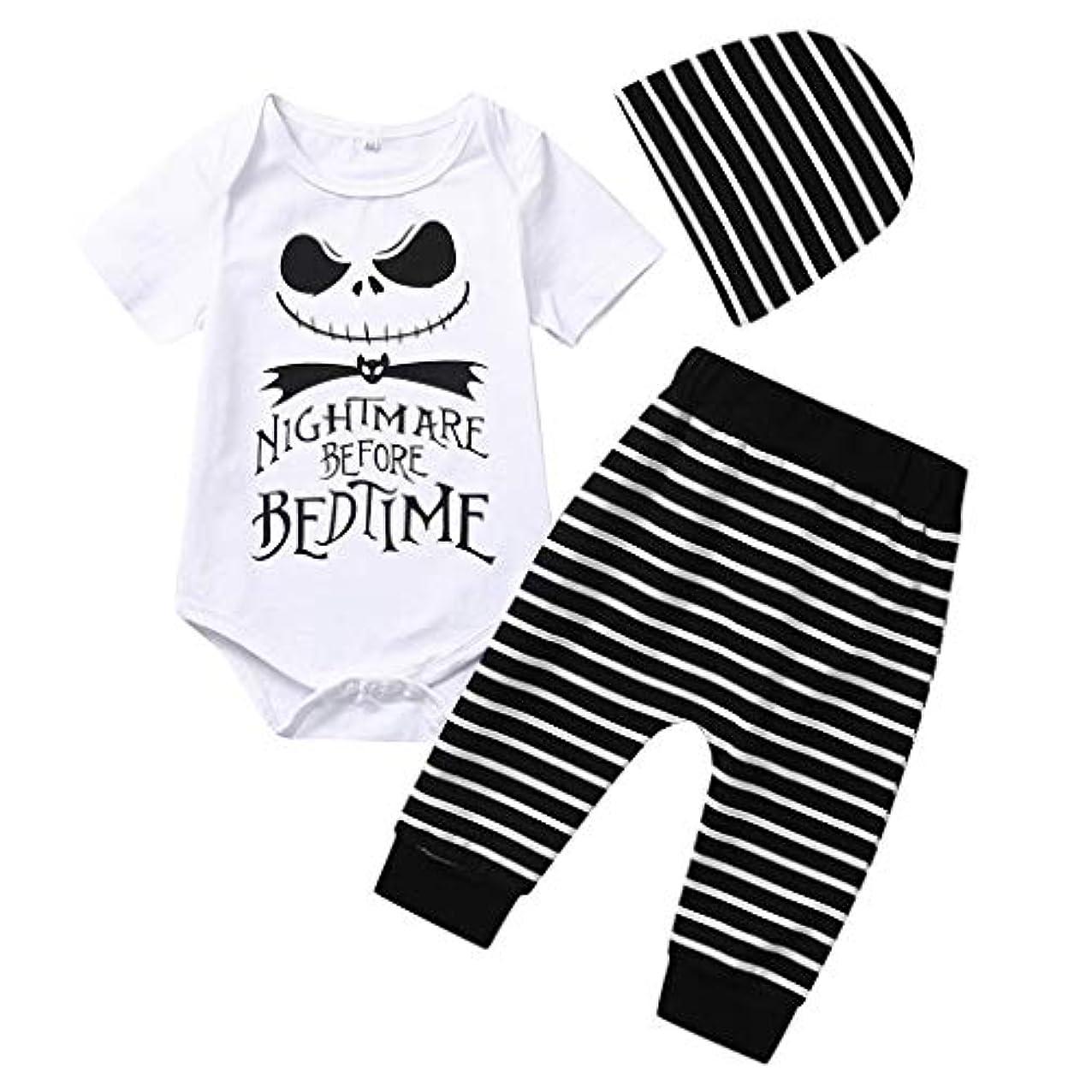 レポートを書くサスペンド敬意を表してMISFIY ハロウィーン キッズ 子供 新生児 ベビー服 ロンパース 上下 セット 帽子 肌着 かわいい 柔らかい パジャマ 誕生記念 出産祝い 寝相アート