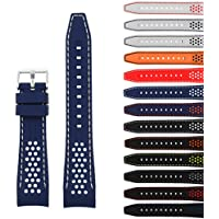 StrapsCo 24mm Rubber Perforated Rally Watch Strap Band w/ Curved Ends in Blue & White