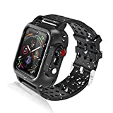 Realproof Waterproof Apple Watch Case 44MM Series 5 / 44MM Series 4 with 3PCS Premium Soft Silicone Band, Dropproof Shockproof Impact Resistant Rugged Protective iWatch Case Bulit-in Screen Protector