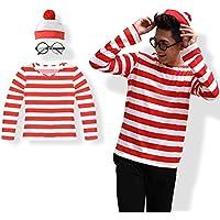 SanDonyハロウィンコスプレウォーリーを探せ仮装大人用男性コスチュームウォーリーボーダー衣装メンズ3点セット(シャツ・帽子・メガネ) (Mサイズ)