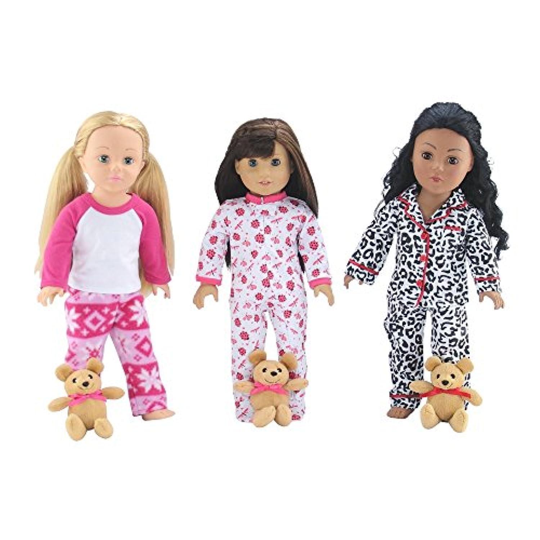 18インチ人形Clothes |値バンドル – セットof 3人形パジャマ、各with Teddy Bearなど、