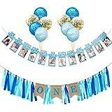 Cieovo 1歳の誕生日 男の子用デコレーションキット 赤ちゃんの1歳の誕生日のデコレーション ハイチェアバナー 1歳の誕生日 赤ちゃんの写真バナー 1歳の誕生日パーティー用バルーン ブルー childrens party-banners1-001