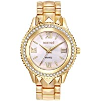 Mestige The Faulkner Watch In Gold with Crystals From Swarovski® (Gold) Gifts Women Girls, Metal Band, Pearl