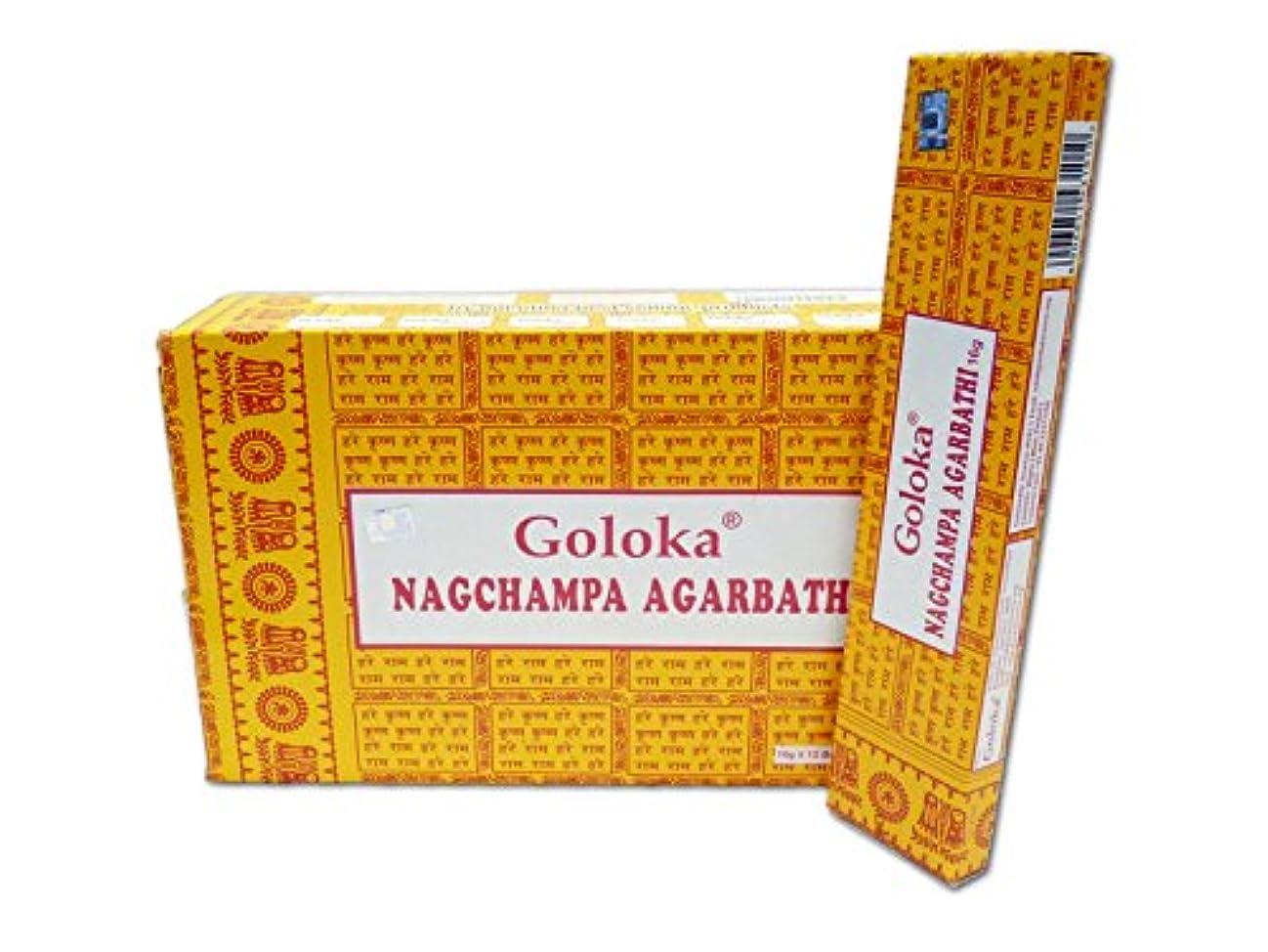 時焦げ保険Goloka Nag Champa Incense, 16 Gms x 12 boxes