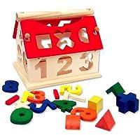 Suie 1pcs木製デジタル数家建物ブロック教育知的おもちゃ