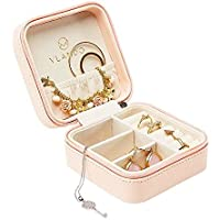 Vlando Small Faux Leather Travel Jewelry Box Organizer Display Storage Case Rings Earrings Necklace (Pink)