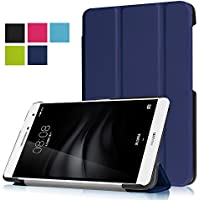 F.G.S Huawei mediapad t2 7.0 pro LTE ケース Huawei mediapad t2 7.0 pro LTE カバー 三つ折型 PUレザー素材 Huawei mediapad t2 7.0 pro 保護ケース スタンド機能付き Huawei mediapad t2 7.0 proカバー 薄型 ネイビー F.G.S正規代理品
