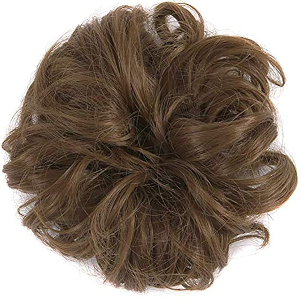 シガレット批判する邪悪なテープループバンズバンズの女性と少女汚い波状ヘアエクステンションの毛のかつらは、かつら(ライトブラウン)ポニーテール