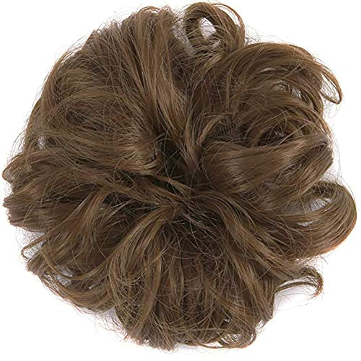 アクセス中央値無テープループバンズバンズの女性と少女汚い波状ヘアエクステンションの毛のかつらは、かつら(ライトブラウン)ポニーテール