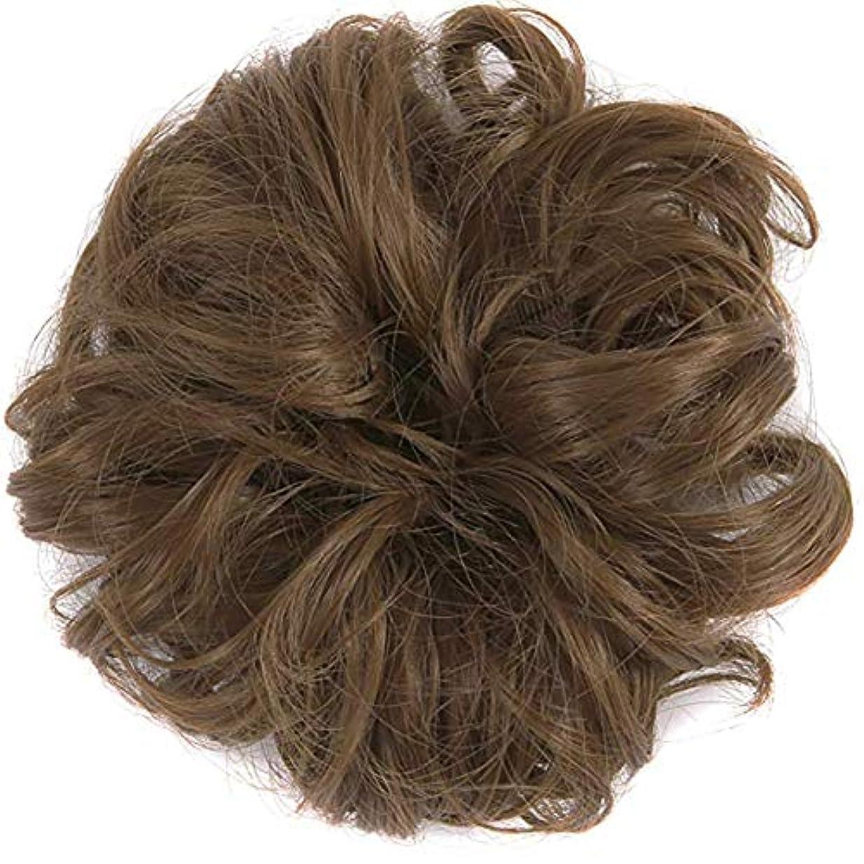 不平を言う清めるだますテープループバンズバンズの女性と少女汚い波状ヘアエクステンションの毛のかつらは、かつら(ライトブラウン)ポニーテール