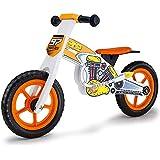 Rovo Kids Wooden Motorcross Balance Bike, White and Orange