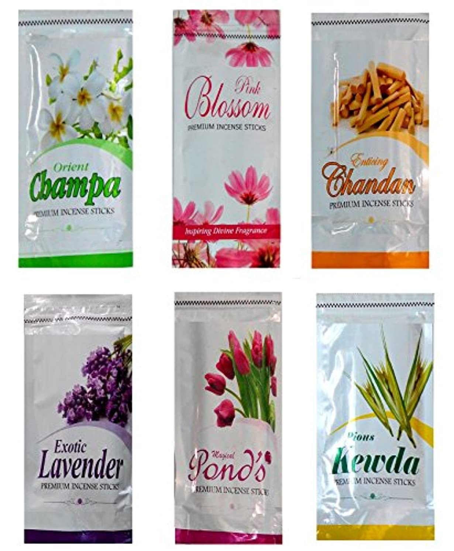 降下不満自体Resealableプレミアム値パックの450 Incense Sticks ,セットof 6香りつき茶魔、Kewda、ラベンダー、池、サンダルウッド& Blossoms – Ayurveda Chakra Aroma...