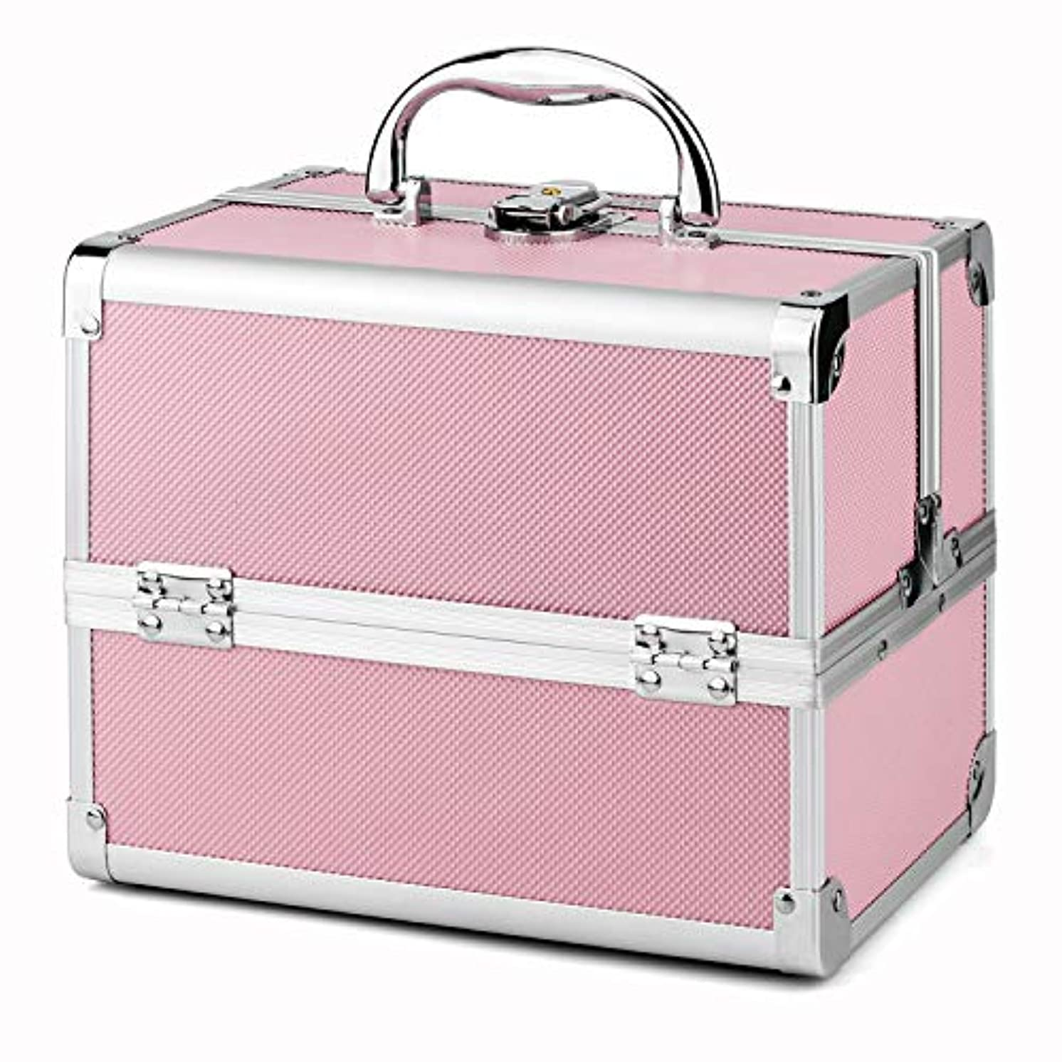 Amasava メイクボックス 収納ボックス 大容量 プロ用 コスメボックス 鏡付き 収納ケース 化粧品?化粧道具入れ 自宅?出張?旅行?アウトドア撮影などに対応 ハンドル付持ち運び便利 収納力抜群 鍵付き ピンク