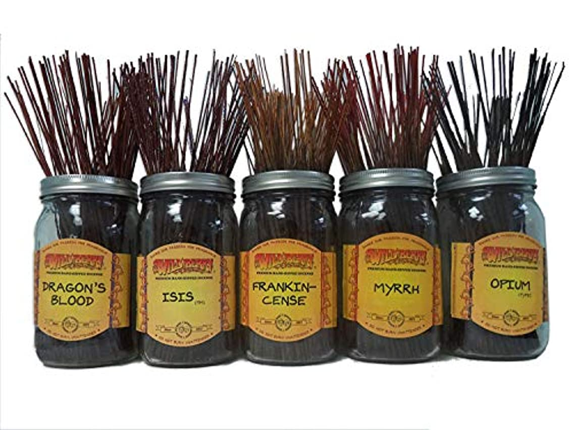 ウイルス飛躍眉をひそめるWildberry Incense SticksスパイシーScentsセット# 1 : 20 Sticks各5の香り、合計100 Sticks 。
