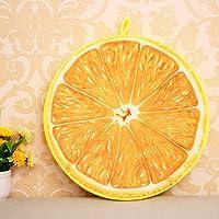 (H_X)全8色可選 リアル 3D 本物そっくり 果物 クッション 肌触りの良いベロア調 抱き枕 首枕 昼寝枕 座布団 (約40cm×厚さ7cm, オレンジ)