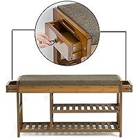 Zhen guoシェルフL竹靴ベンチストレージのクッションとハンドル、木製ブートラック、90 cm x 29 cm X 49 cm With 2 Drawers