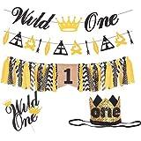MEANT2TOBE ワイルドワン バースデーデコレーション | 黄麻布 ワイルドワン バナー ゴールドブラッククラウン | 'ワイルドワン 'ゴールドグリッターハット / クラウン | ワイルドワン ヘッドバンド 黄麻布 ハイチェア バナー 1歳の誕生日用