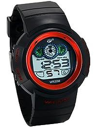 JewelryWe 子供 デジタル腕時計 学生腕時計 デジタル表示 12/24H 3ATM防水 多機能 日付・曜日 アラーム レッド