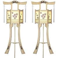 盆提灯 モダン提灯 白木六角灯 (大) 2本1組 廻転灯付 高さ約107cm 日本製 行灯 盆提灯 八女提灯