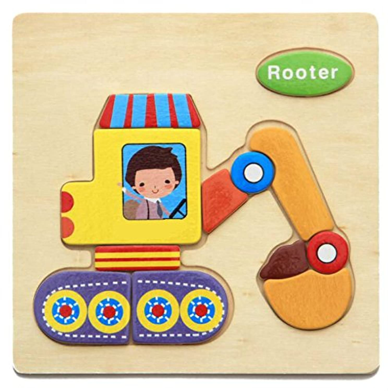 HuaQingPiJu-JP ブランドの新しい木製の教育的なパズルアーリーラーニング番号の形の色の動物のおもちゃキッズのための素晴らしいギフト(掘削機)