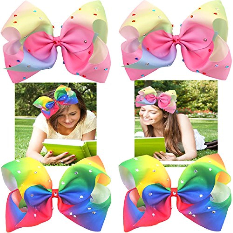 4個たBigリボンワニクリップキラキラGlitter Rainbowヘアリボンラインストーン7