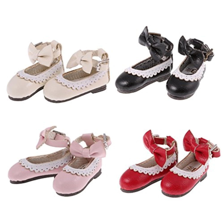 Lovoski 4ペア(4色) 人形 ドール用 かわいい 手作り PUレザー アンクル ベルト 靴 シューズ 12インチ ブライスドール対応 装飾