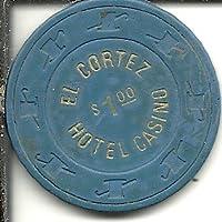 $ 1 EL Cortezブルーヴィンテージラスベガスカジノチップ