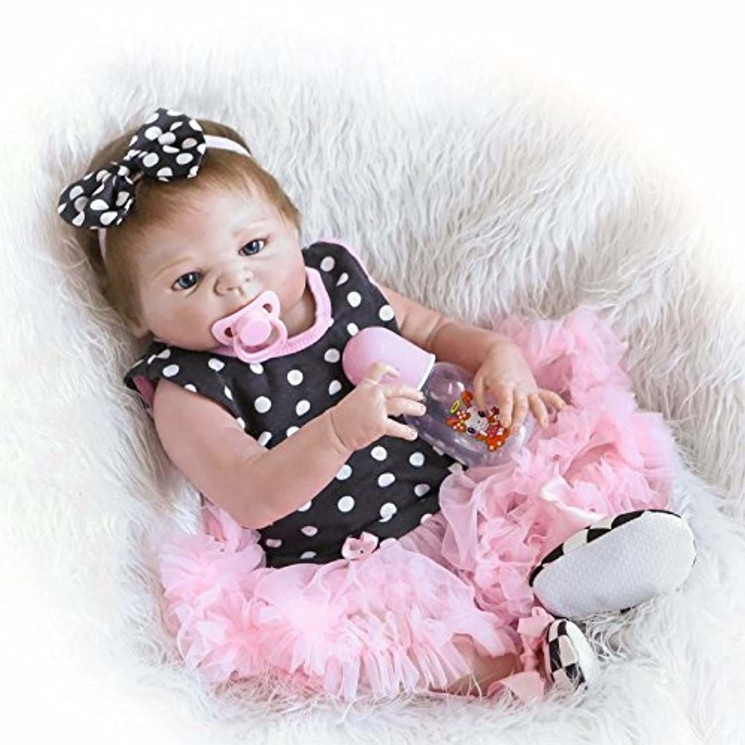 Nkol Reborn Baby Dolls Silicone Full Body Newborn Realistic Baby Toddler with Pink Tutu Skirt (Waterproof, Magnetic