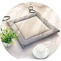 リネンオフィスの畳のクッションマット夏の通気性のシンプルな家庭食卓のクッション,(正方形)灰色のエッジ+米白色の表面,直径50*45*厚4cm