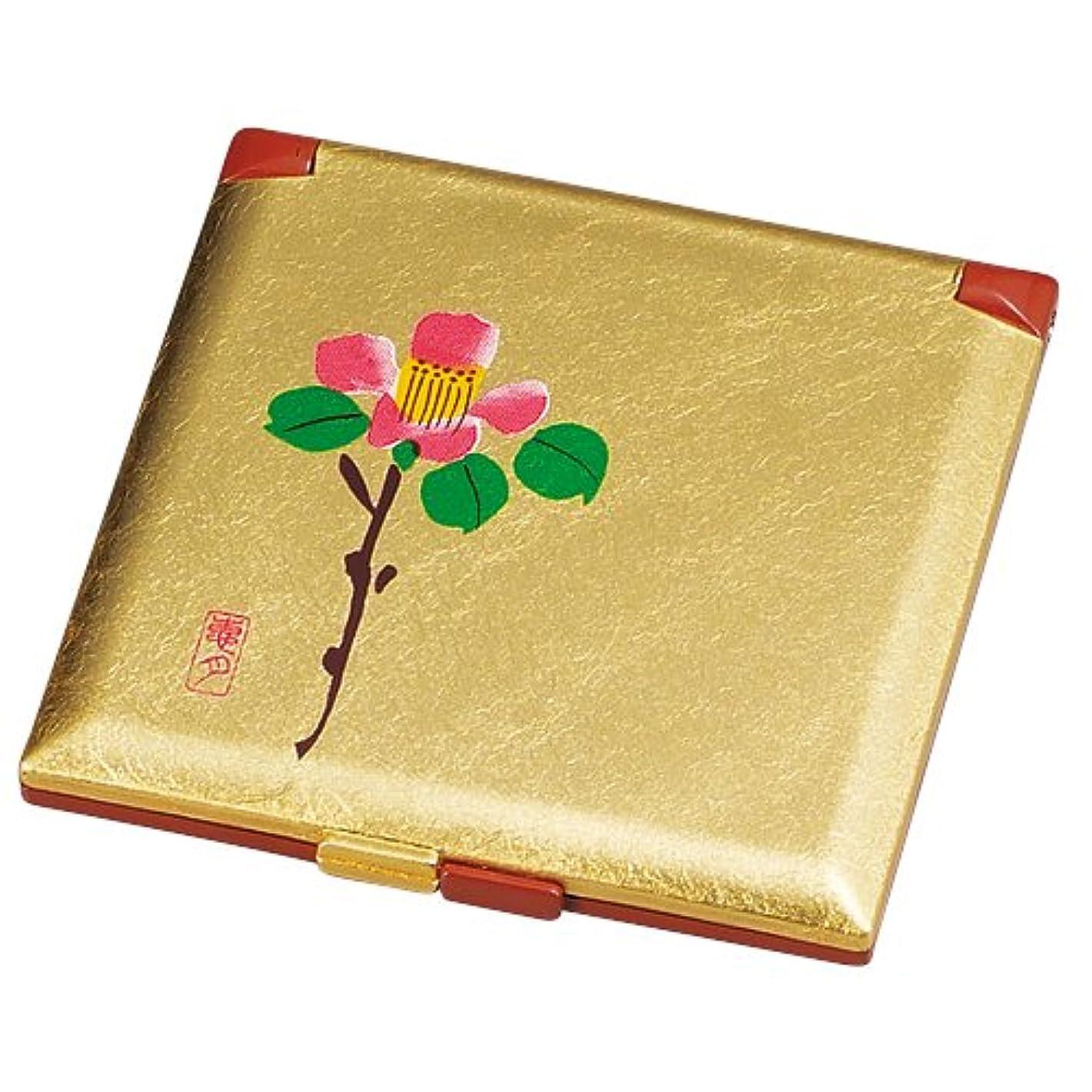 失礼ないじめっ子寛容中谷兄弟商会 山中漆器 コンパクトミラー 金箔 花つばき33-0414