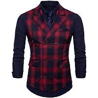 FULIER Mens Suit Vests Vest Lattice Dress Coat Waistcoat 6 Button Vests