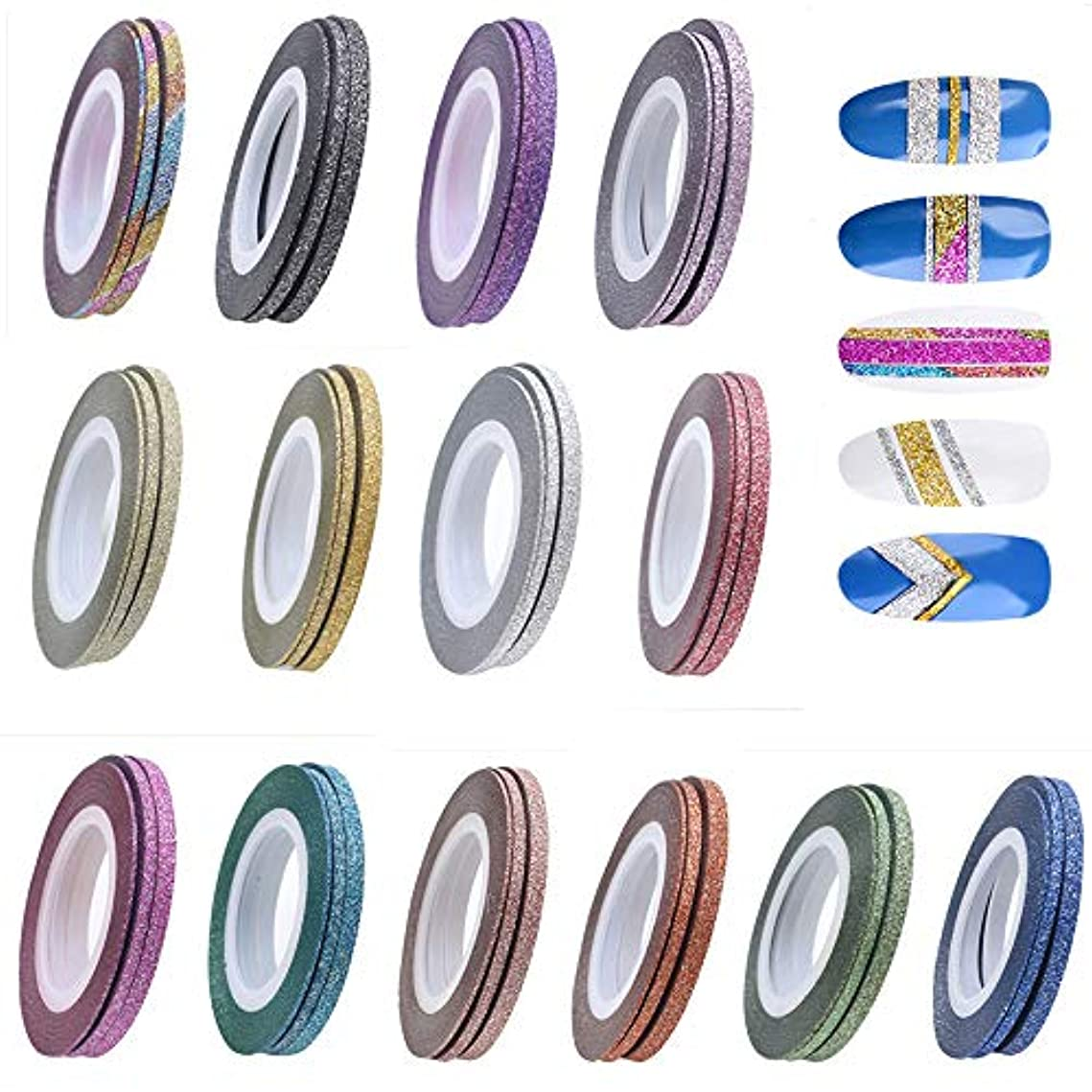 かけがえのない農民乱暴なネイルアート 艶消しラインテープ 42個セット(1mm/2mm/3mm各14色)ネイルデザインパーツ