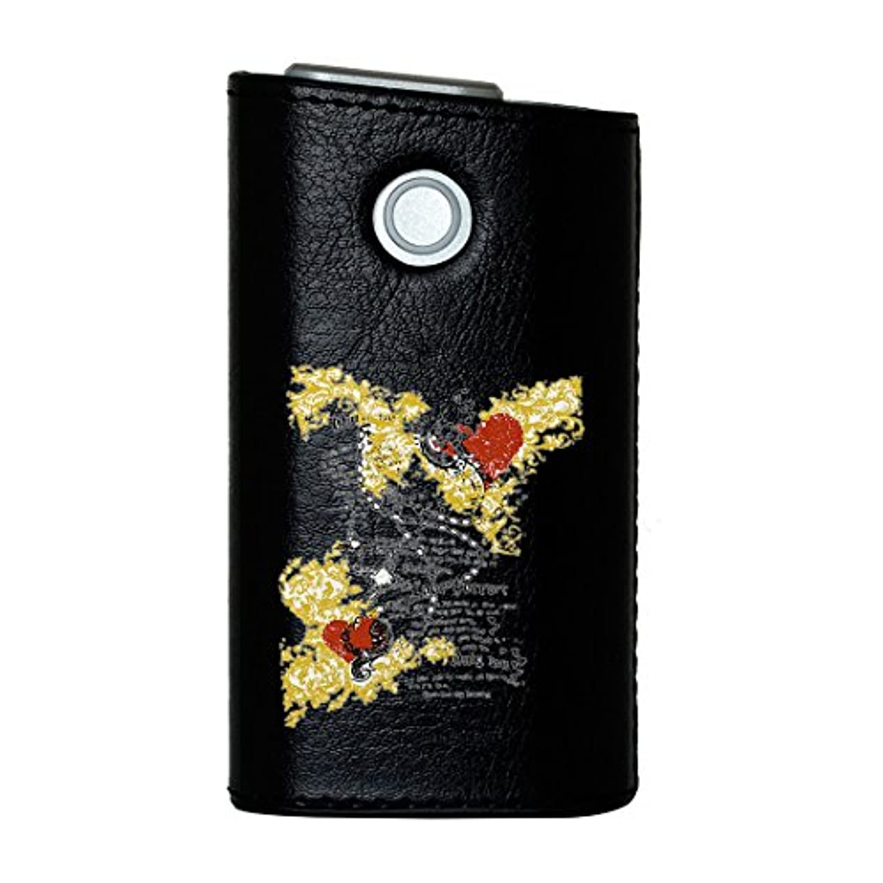 ミシン目軍あからさまglo グロー グロウ 専用 レザーケース レザーカバー タバコ ケース カバー 合皮 ハードケース カバー 収納 デザイン 革 皮 BLACK ブラック クール ハート ROCK 001095