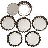 Webake 4 Inch Mini Quiche Tart Pans with Removable Bottom Tart Tin Non-Stick Coating - Set of 6
