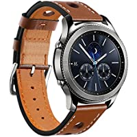 Huamecl Soft Luxury Genuine Leather Strap Replacement Watch Band for Samsung Gear S3 Frontier/Classic-Brown