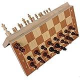 M&S チェスセット 24×24 cm 木製 チェス アンティーク チェスセット 折り畳み マグネット チェス盤 木製 磁気性 高級感 ボケ防止 脳トレ ゲーム 頭の体操 携帯 簡易説明書付 プレゼント