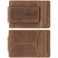 NapaWalli Genuine Magnetic Napa Leather Front Pocket Money Clip Slim Minimalist Wallet Made with Powerful Rare Earth Magnets Plus RFID Blocking (Hunter Khaki)