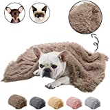 Dasior Pet Dog Cat Fluffy Fur Blanket Sleep Mat Reversible Double Layer Washable for Dog Bed, Couch, Sofa, Car 30.5 x 21.5 inch Brown