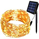 Solar String Lights,Solarmks 150 LED Fairy Lights 8 Modes Bendable Copper Wire 50 ft Outdoor String Lights Indoor Patio Garden Christmas Decorative (Warm White)